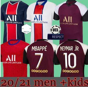 Fußball Jerseys Paris 20 21 Mbappe Maillots de Fußballhemden 2020 2021 NEYMAR JR ICARDI Männer + Kinder-Kit enfants maillot de foot 4. vierte