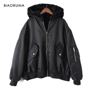 BIAORUINA FEMME REVERSIBLE PAYSE PATCHWORY POLYESTER POLYESTER BOMBER VESTE BOMBER CHAUSE AUTOMNE HIVER LOIGNE PARKAS LJ201127