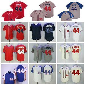 Erkekler emekli 1957 1963 1974 1980 Vintage 44 Hank Aaron Beyzbol Forması Kazak Fleksbaz Serin Baz Kırmızı Beyaz Retro Mavi Bej Gri Dikişli