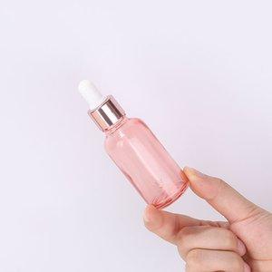 Custom Glass Essential Oil Perfume Bottle 5ml 10ml 15ml 20ml 30ml 50ml 100ml Transparent Rose Gold Serum Bottles With Dropper Gxqju