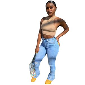 High Waist Hole Womens Jeans Skinny Sexy Denim Stacked Pants High Street Fashion Casual Women Trousers