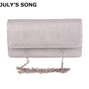 Song julho Mulheres Evening senhoras do dia da embreagem cadeia bolsa nupcial Wedding Lady Partido Bag Bolsa Mujer prata Q1113