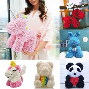 2020 heiße Verkaufs-Hunde Panda Unicorn Teddybär Rose Seifenschaum Blumen Künstliche Spielzeug Birtthday Valentines Weihnachtsgeschenke für Frauen 1022