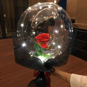 Luminous Led Balloon Transparent Round Bubble Decoration Rose Flower Party Wedding Gift Box Artificial Fake Flowers Diy Y0104