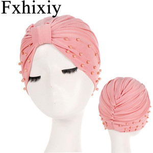 Muslim Women Cotton Solid Ruffle Bead Knotted Turban Hat Chemo Chemotherapy Caps Bandans Headwrap Plated Hijab Hair Loss Cover