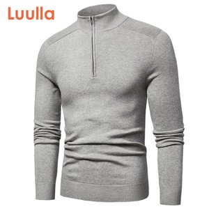Luulla Primavera New Casual Cotton gola alta camisolas pulôver Moda Outono malha Zip Sweater Jacket Men Colecção