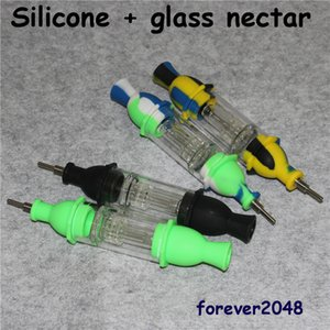 Silicone Oil Rig Water Pipe Glass Water Bong Nectar Collector Kit with Silicone Container Dab Tool Retail Package