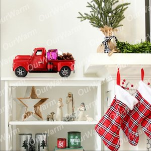 OurWarm Vintage di Natale per la casa in metallo Truck Model Car bambini gioca i regali di Capodanno tabella tavolino della decorazione