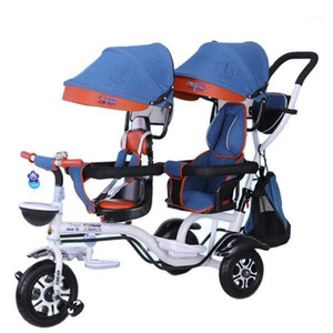 Babyfond twin children's tricycle Multifunction twin stroller Front seat can be rotated two-seat bicycle1