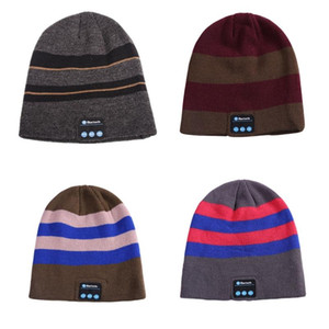 Striped Color Matching Knitted Winter Warm Bluetooth Headset Cap Wireless Call Music Headphones Hat for Night Running