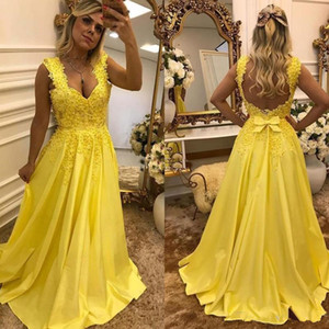 Yellow A Line Long Evening Dresses with Bow Backless Prom Dress Beaded Lace Applique Off Shoulder Bride Vestidos De Fiesta