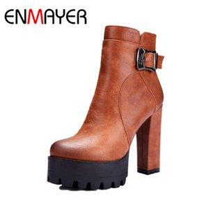 ENMAYER Fashion Boots Platform Women Boots Inverno Fibbia Square Heel Zip Scarpe da caviglia Donne Moto Big Size Womenshoes