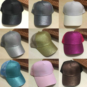 hot sale 29 Colors Glitter Ponytail Ball Cap Messy Buns Trucker Ponycaps Plain Baseball Visor Cap Glitter Ponytail Hats JXW264