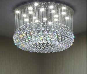Lustre cristal moderne pour plafond de luxe lampe ronde suspendue éclairage salon salle à manger chambre hall des lumières cristal
