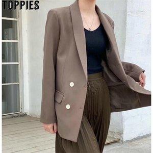 TOPPIES Frühling Herbst Zweireiher Blazer Koreanische Modejacke Chic Jackets 201111