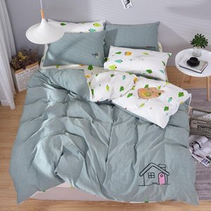 4pcs Pure Cotton Washed Cotton AB Embroidery Brief Style Embroidery Duvet Cover Bed Sheet Pillowcases Bed Set House Cactus