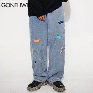 GONTHWID Smiling Face Graffiti Denim Pants Streetwear Men Hip Hop Casual Harajuku Fashion Pockets Loose Jean Pants Trousers Male