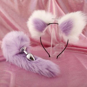 Cute Soft Cat ears Headbands with 40cm Fox Tail Bow Metal Butt Anal Plug Erotic Cosplay Accessories Adult Sex Toys for Couples Y200422