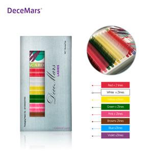 Decemars Extensão 16lines coloridos uma bandeja de várias cores para Lash Salon Usar Rainbow pestana extensões JBCD onda