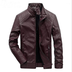 2019 Winter Men's Leather Jacket Coat Classic Leather Motorcycle Jacket Leisure Plus Velvet Stand Collar Coat1