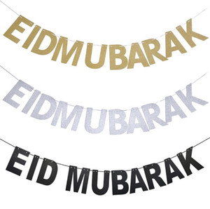 Ouro prata eid bandeira glitter papel guirlanda eid mubarak festival muçulmano festival bunting ramadan sn3709