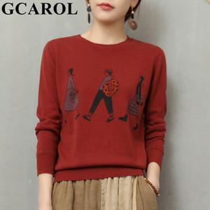 GCAROL Women Character Design Sweater Fall Winter Basic Pullover Skin-friendly Knitwear Streetwear Knit Top In 5 Colors Q1115