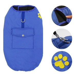 Double Sided Solid Color Windproof Chest Harness for Dogs Fashion Warm Dog Paw Print Vest Pets Waterproof Chests Clothes