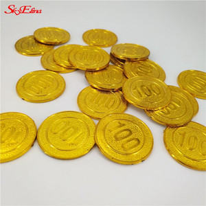 50 100pcs Gold Coins Pirate Treasure Game Halloween Play Money Pirate Party Props Kids Party Christmas Decoration Supplies 5Z