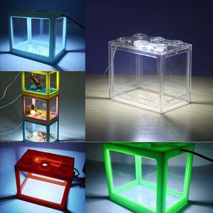 4yqnj الأسماك ضوء واحد check المشهد صمام الحوض غير العائد qrium مضخة الهواء LEGO كتل خزان خزان الأسماك الاحتفاظ الأكسجين