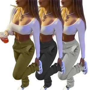 Fleece gestapelte Hosen Frauen Solide Farbe Flare Lässige Hose Herbst Winter Mode Frauen Gestapelte Jogginghosepants
