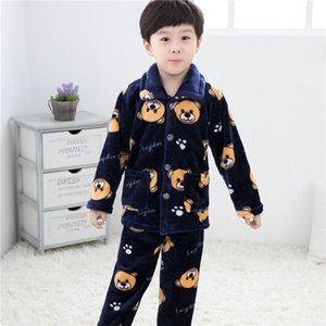 Childrens Pajamas Flannel Autumn and Winter Long Sleeves Suit Girls Baby Boy Cartoon Thickened Homewear