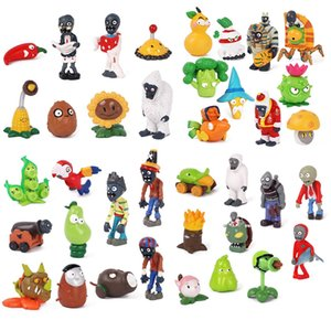 Mini PVZ Plants vs Zombies 2 Action Figures Toy cartoon solid PVC hands do doll car decoration drop children's holiday gifts 3~8cm