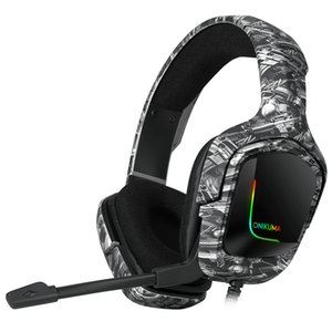K20 RGB Gaming Headset with Microphone LED Light Surround Sound Bass PC Gamer Headphone for Xbox One PS4 Phone Laptop