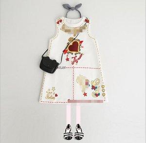 Retail Girls Robe Été Sans manches Saint Valentin d'amour Cœur d'amour Imprimé A-Line Princess Robe Baby Girl Robes Enfants Designer Vêtements