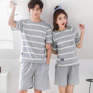Pigiama per le coppie estate Simple Striped comodi della signora manica corta pantaloncini di cotone per il tempo libero Home Abbigliamento e biancheria da notte Suit