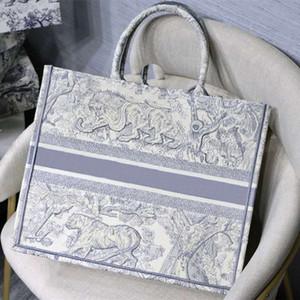 2020 nouveau fourre-tout 41.5cm Broderie 3D Stéréo Feu d'artifice Tigre Modèle de grande capacité de luxe Marque de luxe Sac sac à main à la main