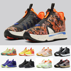 High Quality New PG 4 Gatorade NASA Paul George Basketball Sports Shoes 4s IV Zoom GX Black White Men Sneakers 7-12