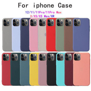 For iPhone Xs 11 Pro Max XR Soft Case For iPhone 12 7 8 Plus Case Original Liquid Silicone Cover Candy Coque Capa