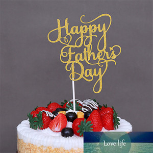 Happy Father 's Day Gold Paper Cupcake Toppers Mothers Fathers Day Happy Birthday Cakes Party Gifts Decoration 1PCS