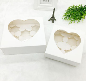 100pcs Heart Window Cupcake Paper Boxes Muffin Cake Boxes Cookie Packaging Box for Wedding Birthday Party 4 6 Cavity SN5119
