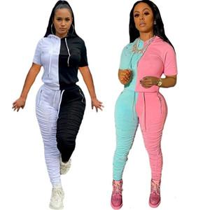 Hot2020 Fall Größe Art und Weise plus 2 Stück Jogger Set Frauen Trucksuit Leisure Suit Damen-Bekleidung Sweat Anzüge S74