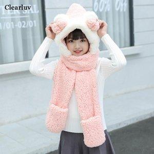 Winter Children Adult Thicken Warm Bib Hat Baby Set Fur Bowknot Scarf Gloves Three-piece Fashion Gift