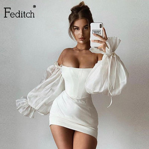 Feditch 2020 Satin Sexy White Summer Dress Lantern Sleeves Mini Dress Women Bodycon Solid Slim Night Club Party Vestidos