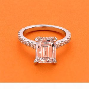 AINOUSHI Exclusive 3 Carat Rectangle Emerald Cut Engagement Ring for Women Wedding Band 925 Solid Sterling Silver Y200106