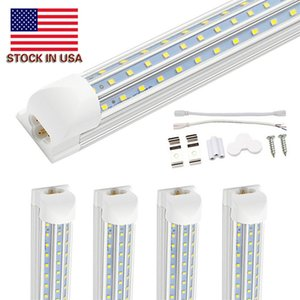8ft T8 Led Tubes Light 4ft 5ft 6ft 8ft 120W V Shaped Led Cooler Door Tubes Lighting Freezer 3 row shop lights fixture