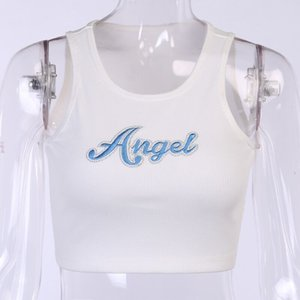 Girl's summer new angel letter print sports tight navel exposed cotton vest