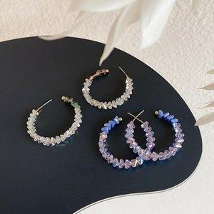 Corée élégante Grande boucle d'oreille femmes mariage cristal violet Anneau d'oreille Pendentif mariage Bijoux Transparent gros Hypoallergénique