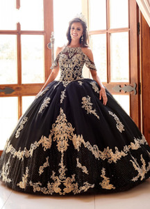Modest Black Quinceanera Dresses Off the Shoulder Beaded Boho Short Sleeve Royal Blue Sweet 16 Dress Lace-up Pageant Gowns