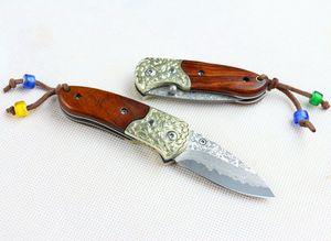 Quality Top Damascus Steel + Ebony VG10 Knives Pocket Blade With Knife Handle Brass Red Gift Damascus Folding Nylon Bag Uguxx
