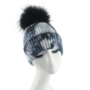 2020 New Fashion Real Fur Pompon Beanie Hat For Women Winter Wool knitted Cap Female Tie Dye Luxury Skullies